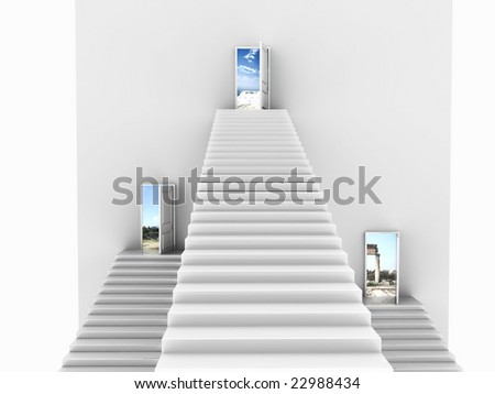 Front view of three white stairs coming up to open doors. For other similar images from the series, please, check my portfolio. - stock photo