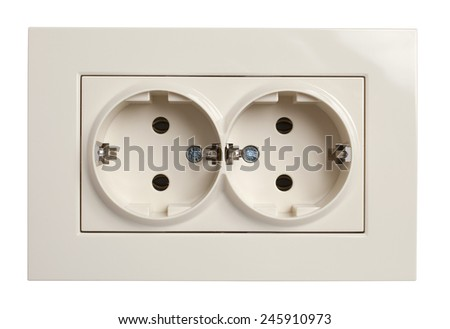 Front view of twin electrical outlet socket in beige, isolated on white background with clipping path - stock photo