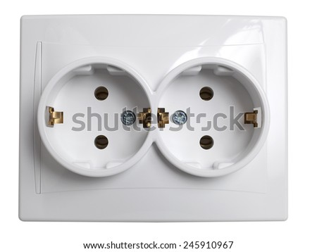 Front view of twin electrical outlet socket isolated on white background, with clipping path  - stock photo