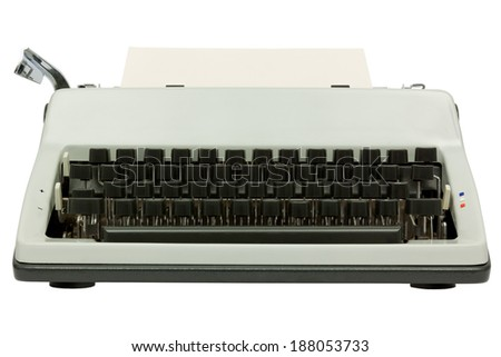 Front view of typewriter on white background with clipping path - stock photo