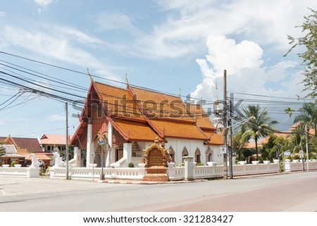 Front view of Wat Huakhuang in Nan province, Thailand. - stock photo
