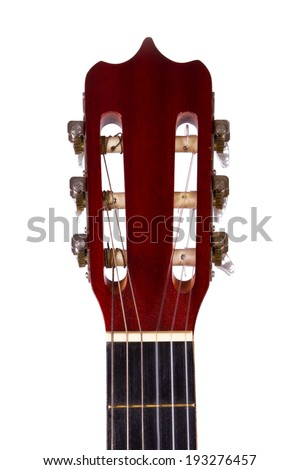 Front view of wooden classical acoustic guitar, isolated on white background. - stock photo