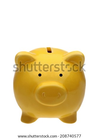 Front view of yellow piggy bank isolated on white. Studio shot, clipping path.  - stock photo