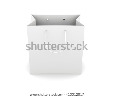 Front view paper bag with handles isolated on white background. Bag for purchase. Paper white bag for your design. 3d rendering. - stock photo
