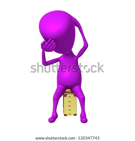 Front view puppet feel badly on small suitcase - stock photo
