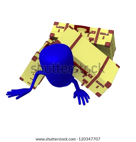 Front view puppet is in trouble under suitcases - stock photo