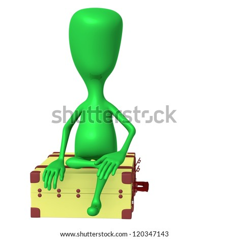 Front view puppet sitting calmly on big suitcase - stock photo
