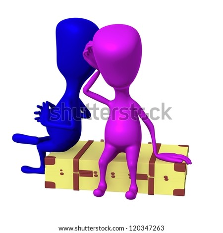 Front view puppets sitting on big suitcase thinking - stock photo