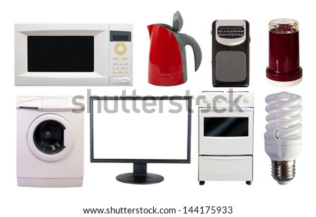 Front view set of  household appliances. Isolated on white background - stock photo