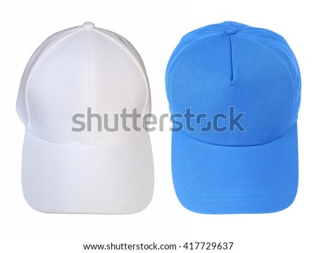 Front view white and blue baseball cap isolated on white background. - stock photo