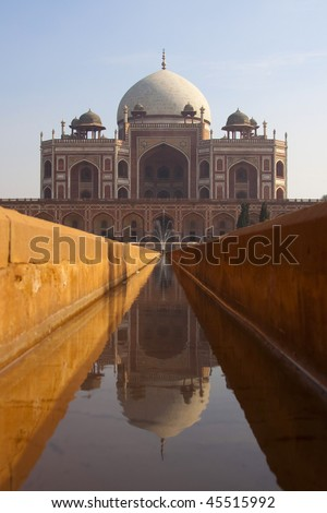 Front view with reflection of Humayan's tomb in Delhi - India. - stock photo