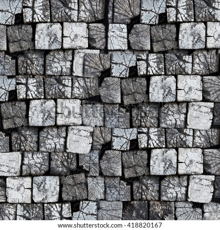 Front view wood blocks background - stock photo
