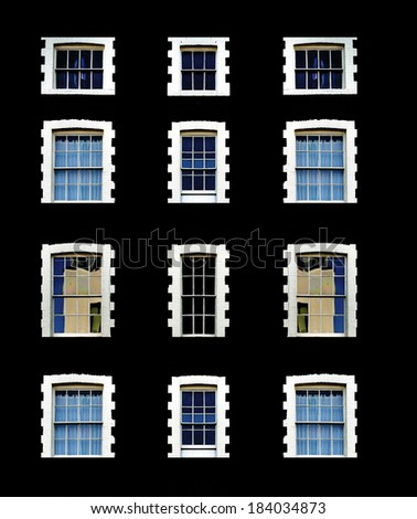 Front windows of a black building.  - stock photo