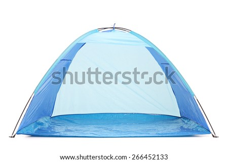 Frontal studio shot of a blue tent isolated on white background - stock photo