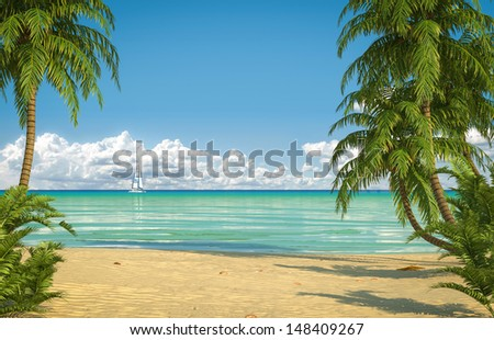 Frontal view of an empty caribbean beach with copy space - stock photo