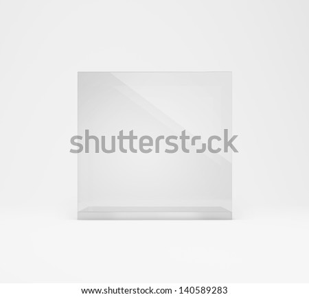 frontal view of empty glass box - stock photo