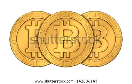 Frontal view of three 3D rendered paneled golden Bitcoins isolated on white background - stock photo