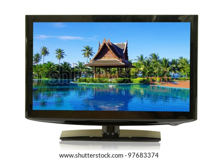 frontal view of widescreen lcd monitor isolated on white - stock photo