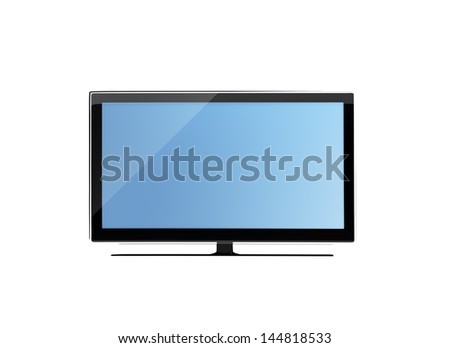 frontal view of widescreen tv or lcd monitor isolated on white - stock photo