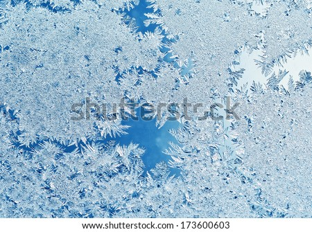 Frost on window - stock photo