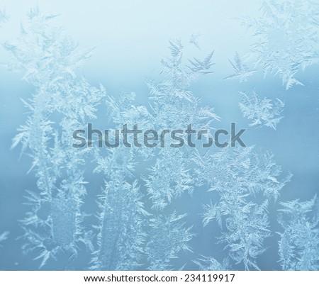 frost on winter window - stock photo