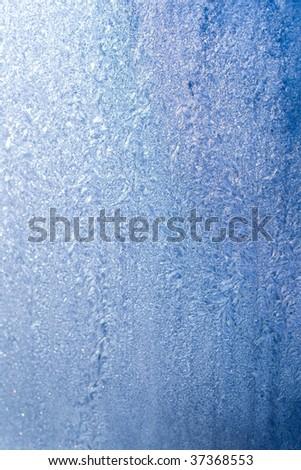 Frost pattern on window - stock photo