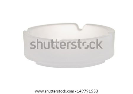 Frosted glass ashtray isolated on a white background - stock photo