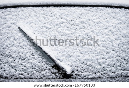 frosted windshield at winter  - close up - stock photo