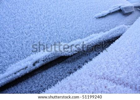 Frosty car - stock photo