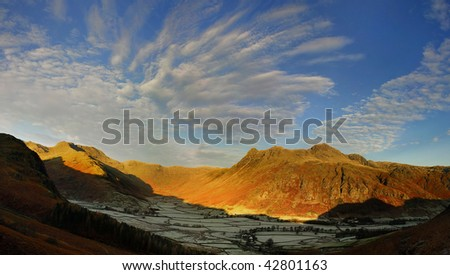 Frosty dawn, Great Langdale in the English Lake District - stock photo