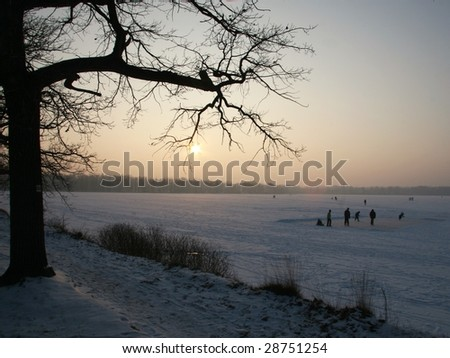 frosty evening - stock photo