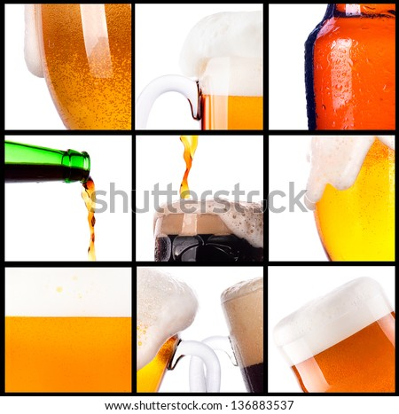 Frosty fresh beer set with foam background - stock photo