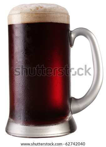 Frosty mug of  beer isolated on a white background. File contains a path to cut. - stock photo