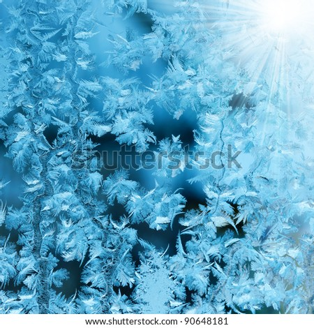 Frosty original  pattern at a winter window glass, - stock photo
