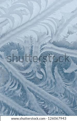 Frosty pattern at a window - stock photo