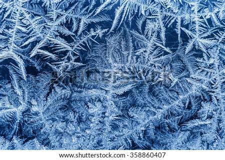 Frosty winter background, frost on window - stock photo