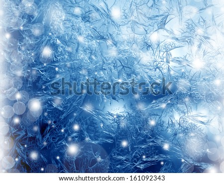 Frosty winter pattern at a window glass, macro texture - stock photo