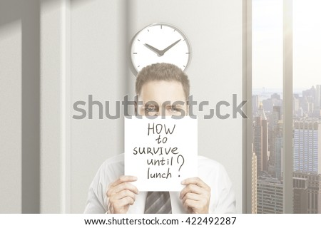 Frowny businessman doesn't  know how to survive until lunch in office interior with city view. 3D Rendering - stock photo
