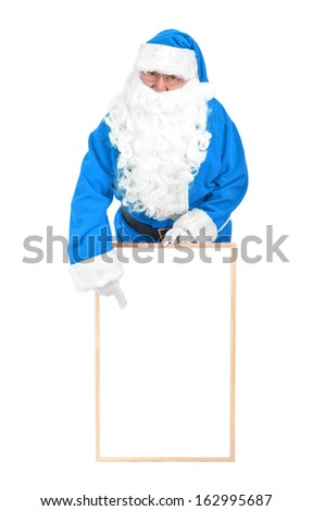 Frozen blue santa and empty white board on white background - stock photo