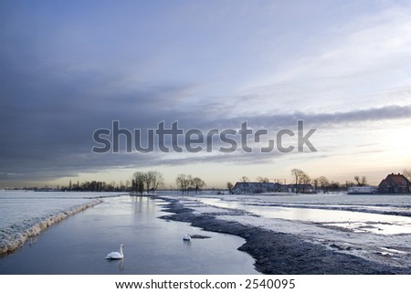 Frozen canals - stock photo