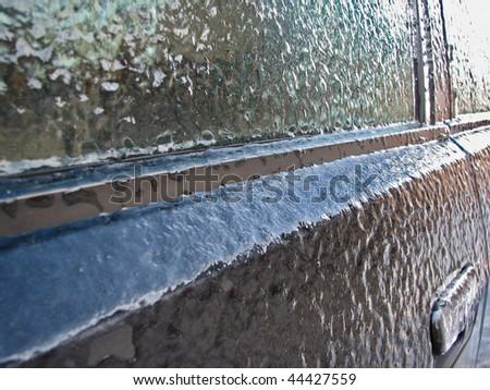 frozen car - stock photo