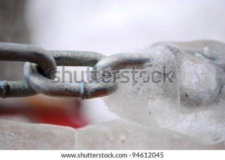 frozen chain - stock photo