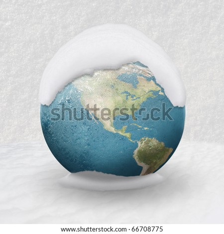 Frozen Earth covered by snow ( USA CLOSE UP) - stock photo