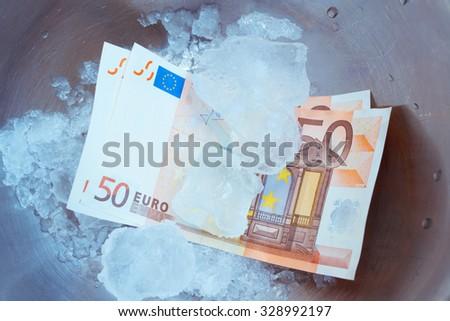 Frozen Euro Notes - stock photo