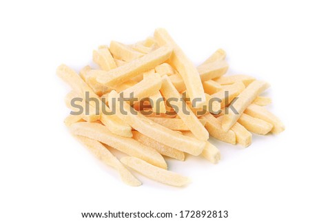 Frozen french fries. Isolated on a white bakground. - stock photo
