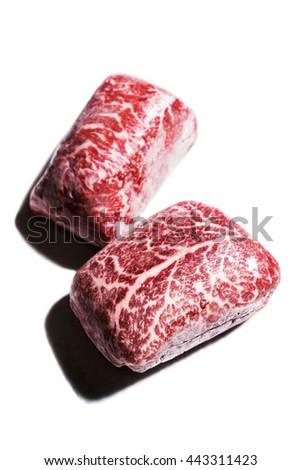 Frozen fresh raw marble beef steak for Japanese teppanyaki - stock photo