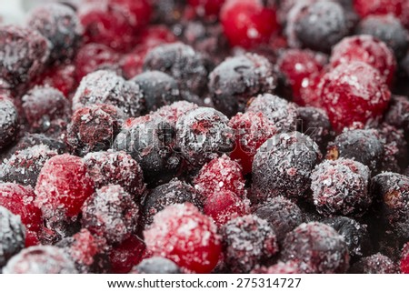 Frozen fruits and berries in the macro scale - stock photo