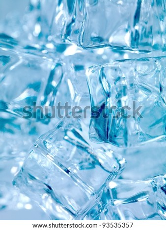 Frozen ice cubes isolated on a kitchen bench - stock photo