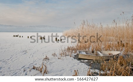frozen lake landscape - stock photo