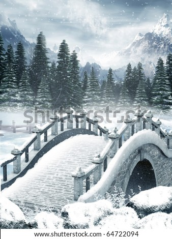 Frozen lake with a bridge - stock photo